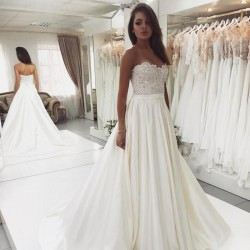 krémové saténové svatební šaty s krajkovým živůtkem Anna XS-S