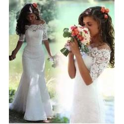 bílé krajkové svatební šaty s rukávky Alicia L-XL