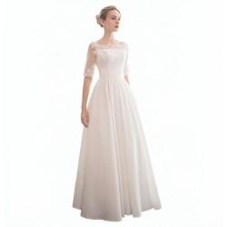 saténové svatební šaty s 3/4 rukávky Wanda XL-XXL