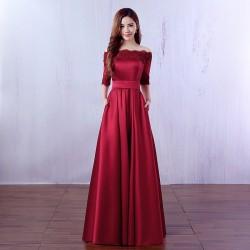 vínové společenské šaty na ples s 3/4 rukávky Anita S-M