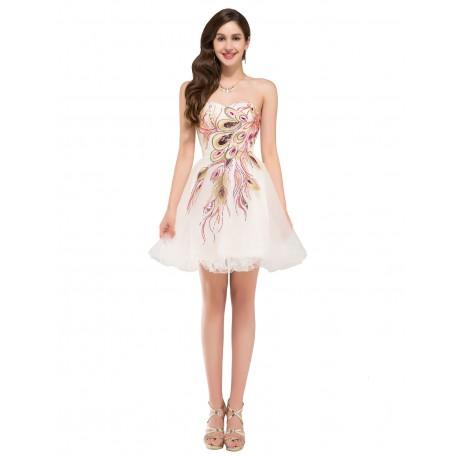 9fb669efd5bc luxusní krátké krémové společenské šaty s pavím vzorem S-M ...