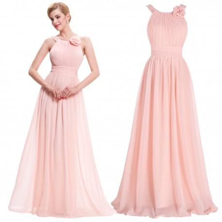 f0f73f031 jednoduché dlouhé pudrové plesové šaty kolem krku XS - Hollywood ...