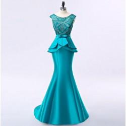 krásné tyrkysové saténové plesové šaty na ples Donna M