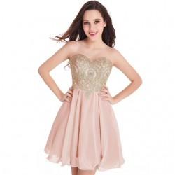 champagne krátké společenské šaty do tanečních Valerie XS