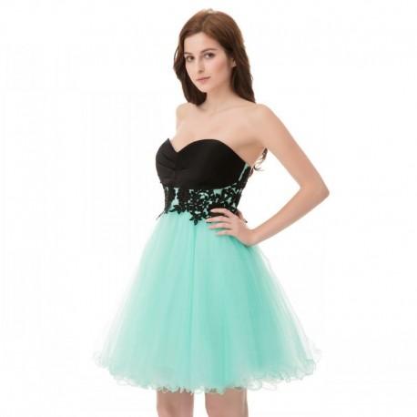 krátké tyrkysové společenské šaty s černou krajkou M-L