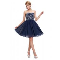 krátké tmavě modré společenské šaty do tanečních Wanda L-XL
