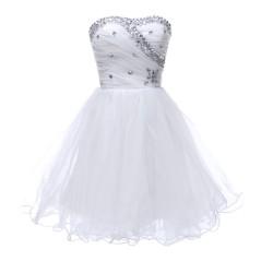 krátké bílé společenské popůlnoční šaty Tina XS-S