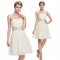 krátké krémové společenské šaty na ramínka S-M