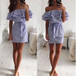 krátké modro-bílé letní proužkované šaty Lara S, M
