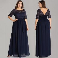 dlouhé tmavě modré společenské šaty pro svatební matky 4XL-5XL