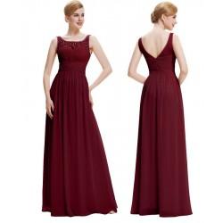 tmavě červené vínové šifónové společenské šaty na ramínka Ennie S
