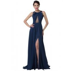 tmavě modré sexy plesové šaty s holými zády S