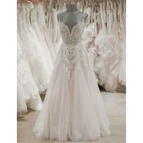 luxusní svatební šaty Adriana M krémové s champagne sukní