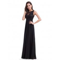 dlouhé černé společenské šaty na ramínka Wanda M-L