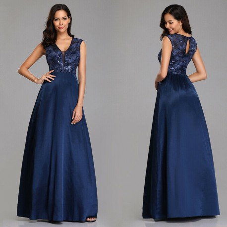 tmavě modré společenské šaty na ramínka Elis XXL