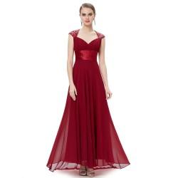 krásné dlouhé vínové plesové šaty na ramínka XS