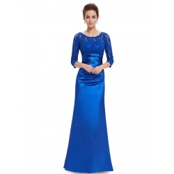 saténové společenské šaty s rukávky Teresia S modré