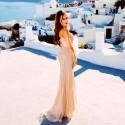luxusní champagne plesové šaty se zlatým zdobením Alison S