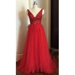 luxusní sexy tylové plesové šaty s rozparkem Alicia XS-S růžové