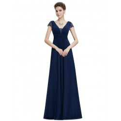 tmavě modré dlouhé antické společenské šaty XS