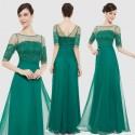 lahvově zelené dlouhé společenské šaty s rukávky S