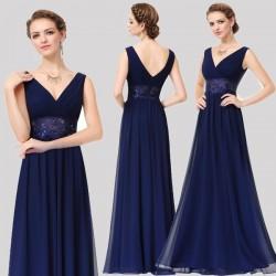 tmavě modré společenské šaty na ramínka XS