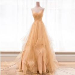 zlaté plesové šaty na maturitní ples Luna M-L