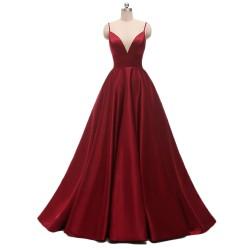 tmavě červené vínové plesové šaty na maturitní ples Lara XS-M