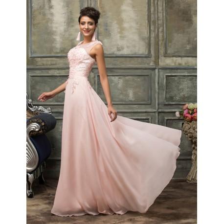 světle růžové šifónové dlouhé plesové šaty Mina S