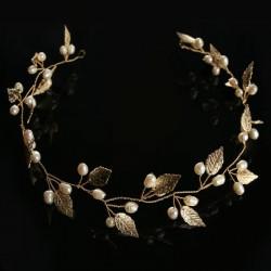 boho věnec do svatebního nebo společenského účesu - zlatý