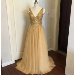 zlaté plesové šaty s tylovou sukní Alicia XS-S
