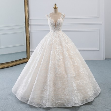 extra luxusní svatební šaty champagne celokrajkové princeznovské Patricia XS-S