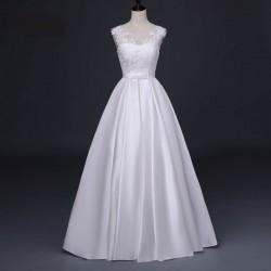 saténové svatební šaty s tylovými ramínky a krajkou S-M