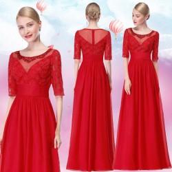 červené společenské šaty pro matku nevěsty s rukávky XL