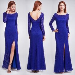 dlouhé krajkové modré společenské šaty na ples Annie S-M