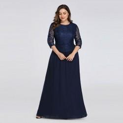dlouhé tmavě modré společenské šaty pro matku nevěsty s rukávy 4XL
