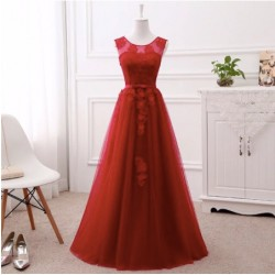 vínové dlouhé tylové plesové šaty na ples Laura XL-XXL
