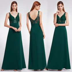 lahvově zelené dlouhé společenské šaty na ramínka Cate XS