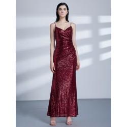 vínové flitrované dlouhé společenské šaty na ramínka M