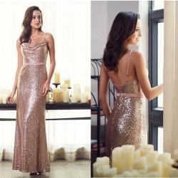 krásné dlouhé flitrované společenské šaty rose gold S
