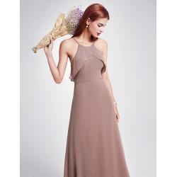 krásné dlouhé hnědé společenské šaty pro družičku L