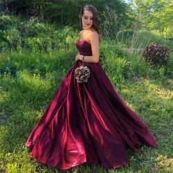 dlouhé vínové plesové šaty na maturitní ples Anna XS-S