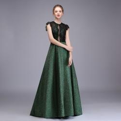 dlouhé maturitní zeleno-zlaté šaty Fabiana XS