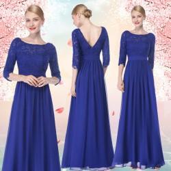 dlouhé modré společenské šaty s 3/4 rukávky M