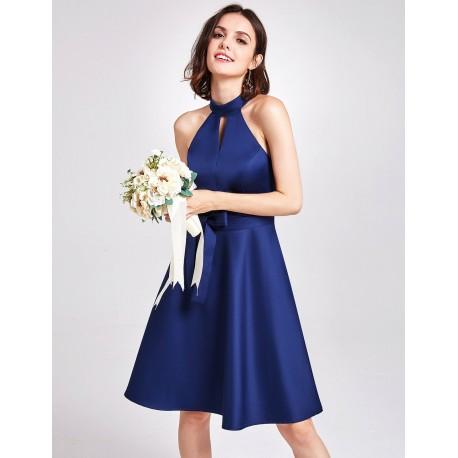 krátké tmavě modré saténové společenské šaty L