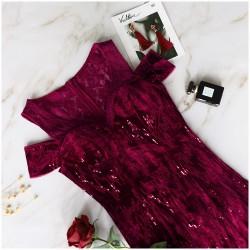 dlouhé vínové společenské šaty na ples na ramínka Soňa M