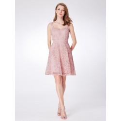 krátké světle růžové společenské šaty do tanečních S