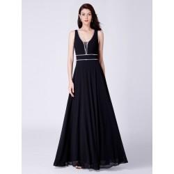 dlouhé černé společenské šaty na ramínka Evita XL