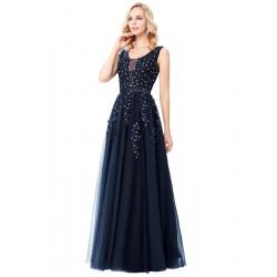 tmavě modré dlouhé společenské šaty na maturitní ples Eleanor