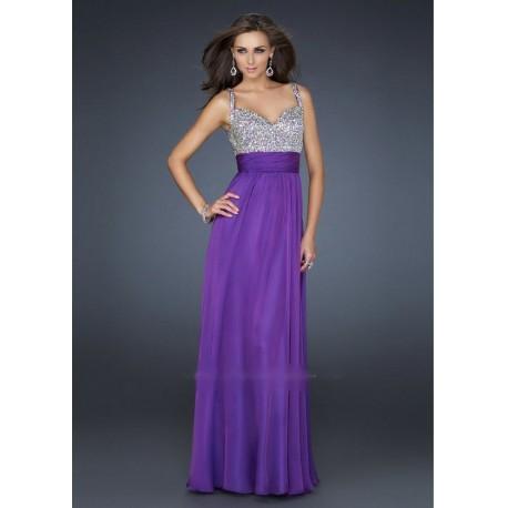 luxusní fialové společenské plesové šaty Bella XS